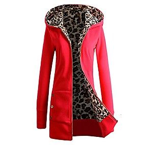 cheap -womens casual leopard print hoodie open front long sleeve slim coat long jacket red s