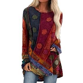 preiswerte -Damen T-Shirt Kleid Minikleid - Langarm Einfarbig Patchwork Herbst Elegant Sexy 2020 Blau Purpur Rote Grün S M L XL XXL 3XL