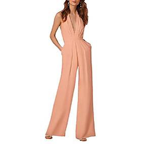 cheap -womens casual sleeveless halter solid backless fold with pocket long party jumpsuits romper pink tag size xl