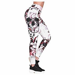 cheap -high waisted skull printed yoga leggings for women- extra soft - workout leggings pants-dry fit pink