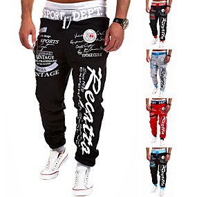 cheap -Men's Sweatpants Joggers Jogger Pants Track Pants Street Bottoms Harem Drawstring Cotton Winter Fitness Gym Workout Running Active Training Jogging Breathable Soft Sport Black / Red Red Black / White