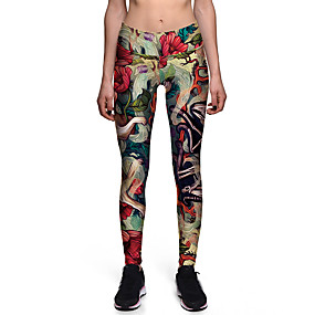 cheap -Women's Sporty Comfort Gym Yoga Leggings Pants Patterned Flower Ankle-Length Print Rainbow