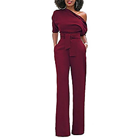 cheap -Women's Casual / Daily 2021 Wine White Black Jumpsuit Solid Color