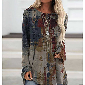 cheap -Women's Blouse Shirt Abstract Long Sleeve Print Round Neck Tops Basic Top Gray