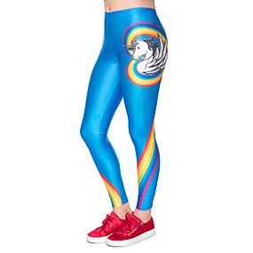 preiswerte -Damen Sport Comfort Skinny Fitnessstudio Yoga Leggins Hose Mit Mustern Knöchellänge Hohe Taillenlinie Blau
