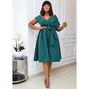 preiswerte -Damen A-Linie Kleid Knielanges Kleid Kurzarm Volltonfarbe Patchwork Herbst Frühling Formell Sexy 2021 Weiß Schwarz Grün S M L XL XXL 3XL