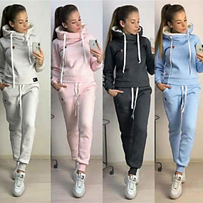cheap -Women's 2-Piece Tracksuit Sweatsuit Jogging Suit Street Athleisure Long Sleeve Winter Pile Neck Fleece Warm Soft Fitness Running Jogging Sportswear Solid Colored Outfit Set Clothing Suit Hoodie Dark