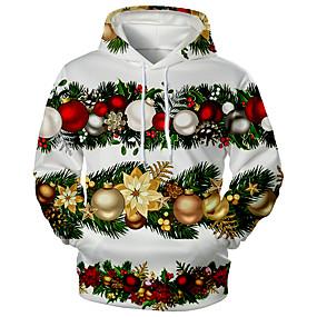 preiswerte -Herren Pullover Hoodie Sweatshirt Druck Grafik 3D Vordertasche Mit Kapuze Weihnachten Alltag 3D-Druck 3D-Druck Weihnachten Kapuzenpullover Sweatshirts Langarm Grün