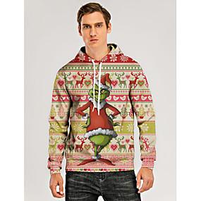 preiswerte -Herren Pullover Hoodie Sweatshirt Grafik 3D Hässliche Weihnachten Mit Kapuze Alltag 3D-Druck Weihnachten Kapuzenpullover Sweatshirts Langarm Rosa