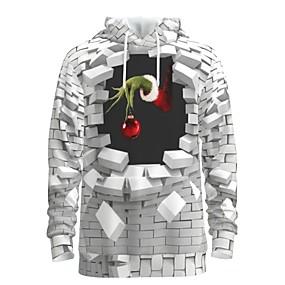 preiswerte -Herren Pullover Hoodie Sweatshirt Druck Grafik 3D Vordertasche Mit Kapuze Weihnachten Alltag 3D-Druck 3D-Druck Weihnachten Kapuzenpullover Sweatshirts Langarm Weiß