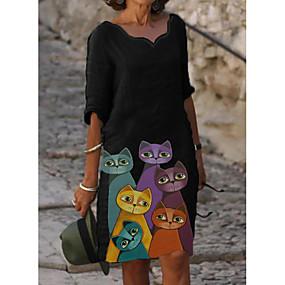 cheap -Women's Shift Dress Knee Length Dress Long Sleeve Print Cat Patchwork Jacquard Winter Casual Christmas 2021 Black M L XL XXL 3XL