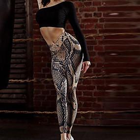 cheap -Women's Sporty Comfort Gym Yoga Leggings Pants Snake Print Ankle-Length Print Brown