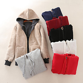 cheap -Women's Teddy Coat Regular Solid Colored Daily Basic Black Red Wine M L XL