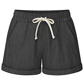 cheap -women's outdoor cotton drawstring elastic waist casual comfy bermuda hiking shorts white us xs/asia 2xl