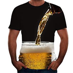 preiswerte -Herren T-Shirt Grafik 3D Bier Übergrössen Kurzarm Ausgehen Oberteile Grundlegend Schwarz