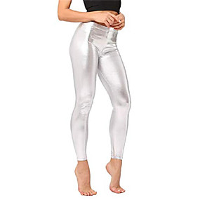 cheap -womens sexy liquid wet look shiny metallic stretch leggings pants (silver, one size)