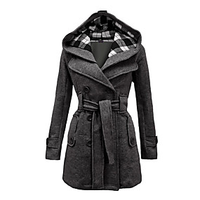 cheap -Women's Plaid Vintage Winter Coat Long Daily Long Sleeve Coat Tops Black