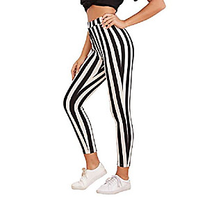 cheap -women's striped high waist workout leggings skinny yoga stretchy pants black and white xl