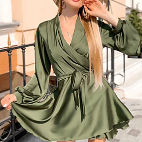 cheap -Women's A-Line Dress Short Mini Dress - Long Sleeve Solid Color Ruched Lace up Fall Winter V Neck Casual Slim 2020 Black Blue Army Green Khaki Green Brown S M L XL XXL
