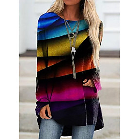 cheap -Women's Rainbow Women's Hoodies Long Sleeve Sweater Cardigans Crew Neck Fall Winter Purple Green
