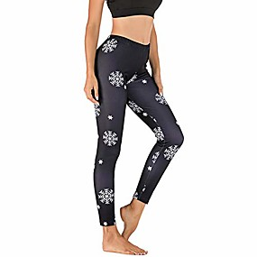 cheap -womens ultra soft christmas printed stretchy skinny leggings pants ankle length snowflake reindeer yoga pants