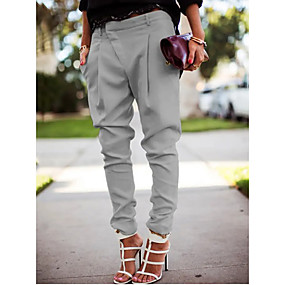 cheap -Women's Simple Basic Causal Daily Work Harem Jogger Pants Pants Solid Colored Full Length Classic Pocket Asymmetric Blue Gray White Black