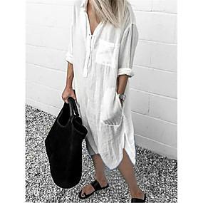 cheap -Women's Shirt Dress Midi Dress Blue Yellow Gray White Red Light Blue Long Sleeve Solid Color Split Patchwork Spring Summer Shirt Collar Casual Loose 2021 S M L XL XXL 3XL 4XL 5XL