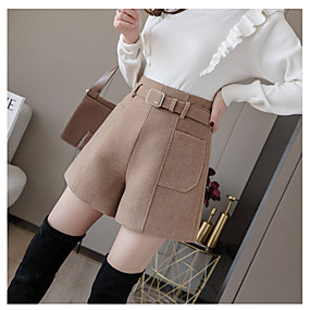 cheap -Women's Basic Streetwear Comfort Daily Going out Shorts Pants Solid Colored Short Pocket B beige Dark Khaki (Spring and Autumn Edition) Black Khaki