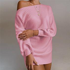 preiswerte -Damen Sweater Kleid Minikleid - Langarm Rückenfrei Frühling Herbst heiß Freizeit Baumwolle 2021 Weiß Schwarz Rosa Wein Khaki S M L XL