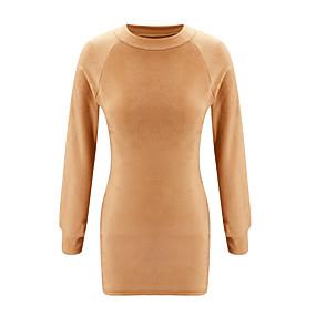 preiswerte -Damen Sweater Kleid Minikleid - Langarm Volltonfarbe Herbst Winter heiß Freizeit Urlaubskleider 2020 Khaki S M L XL