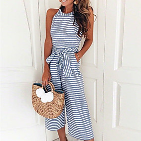 cheap -Women's Casual Daily Holiday Crew Neck 2021 Black Blue Blushing Pink Jumpsuit Solid Color / Wide Leg