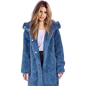 preiswerte -Damen Kunstpelz-Mantel Lang Solide Alltag Grundlegend Blau Purpur Gelb Rosa S M L