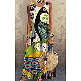 cheap -Women's Shift Dress Maxi long Dress Yellow Sleeveless Paisley Print Spring Summer Round Neck Casual Loose 2021 S M L XL XXL 3XL 4XL 5XL