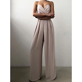 cheap -Women's Party Elegant Strap 2021 Yellow Peach Pink Jumpsuit Solid Color Layered Patchwork Wide Leg