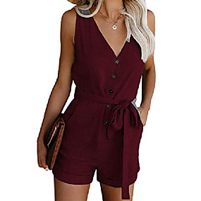 cheap -women's v neck button pockets tank top short jumpsuits rompers with belt(winered-xl)