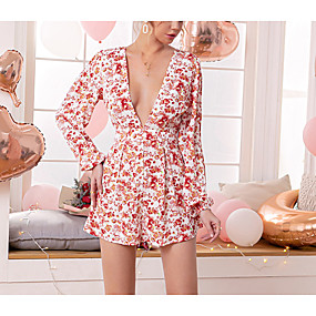 cheap -DOUBLE CRAZY Women's Sophisticated Red Romper Floral Print