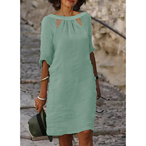 cheap -Women's Shift Dress Knee Length Dress Light Green Half Sleeve Solid Color Spring Summer Round Neck Elegant Casual 2021 S M L XL XXL 3XL / Cotton / Cotton