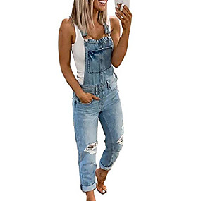 cheap -Women's Casual Street Daily Wear 2021 Light Blue Camouflage Gray Overall Camouflage Solid Color Denim Cotton