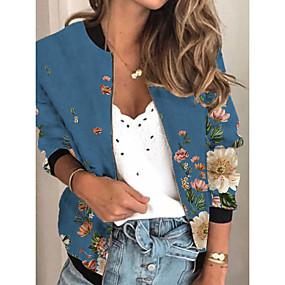 cheap -Women's Jacket Daily Spring &  Fall Regular Coat Regular Fit Active Streetwear Jacket Long Sleeve Plants Print Blue / Holiday