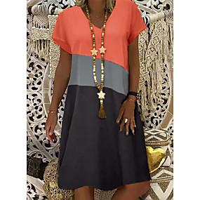 cheap -Women's Shift Dress Knee Length Dress Yellow Khaki Orange Short Sleeve Color Block Summer V Neck Hot Casual vacation dresses 2021 S M L XL XXL 3XL 4XL 5XL