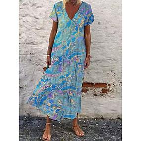 abordables -Femme Robe Droite Robe longue maxi Bleu Violet Rouge Orange Manches Courtes Dégradé de Couleur Eté Simple 2021 S M L XL XXL 3XL 4XL 5XL
