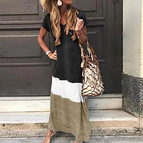 abordables -Femme Robe T shirt Robe longue maxi Bleu Rouge Jaune Noir Gris Manches Courtes Bloc de Couleur Patchwork Printemps Eté Col Rond Simple 2021 S M L XL XXL 3XL 4XL 5XL / Grandes Tailles / Maxi / Ample