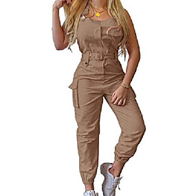 cheap -Women's Casual 2021 Black Blushing Pink khaki Jumpsuit Solid Color