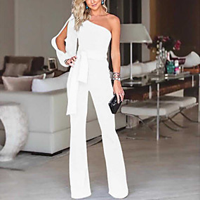 cheap -Women's Elegant & Luxurious Daily Wear 2021 White Blue Red Jumpsuit Solid Color