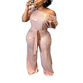 cheap -lkous women's evening sparkly jumpsuits off shoulder short sleeve party sequins rompers high waisted wide leg pants suit pink