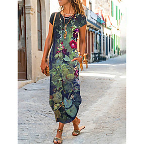 cheap -Women's T Shirt Dress Tee Dress Maxi long Dress Dark Blue Short Sleeve Floral Botanical Leaf Summer Casual / Daily 2021 S M L XL XXL XXXL