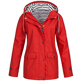 cheap -Women's Jacket Sports & Outdoor Fall Spring Regular Coat Regular Fit Sporty Basic Jacket Long Sleeve Solid Colored Classic Navy Yellow