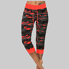 cheap -Women's Casual / Sporty Chino Daily Going out Chinos Pants Camouflage Calf-Length Print ArmyGreen Red Yellow Orange Gray