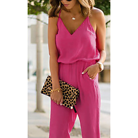 cheap -Women's Basic Blue Yellow Fuchsia Jumpsuit Solid Colored