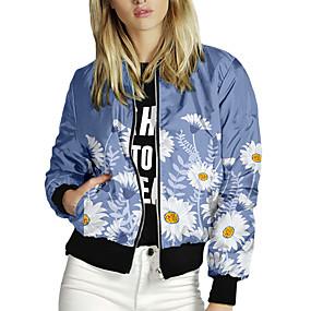 cheap -Women's Jackets Print Print Casual Fall Jacket Regular Daily Long Sleeve Air Layer Fabric Coat Tops Blue